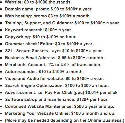 Cost Of Doing Business Online